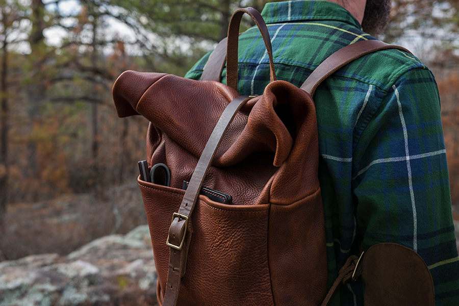 Go Forth Goods leather rucksack saddle