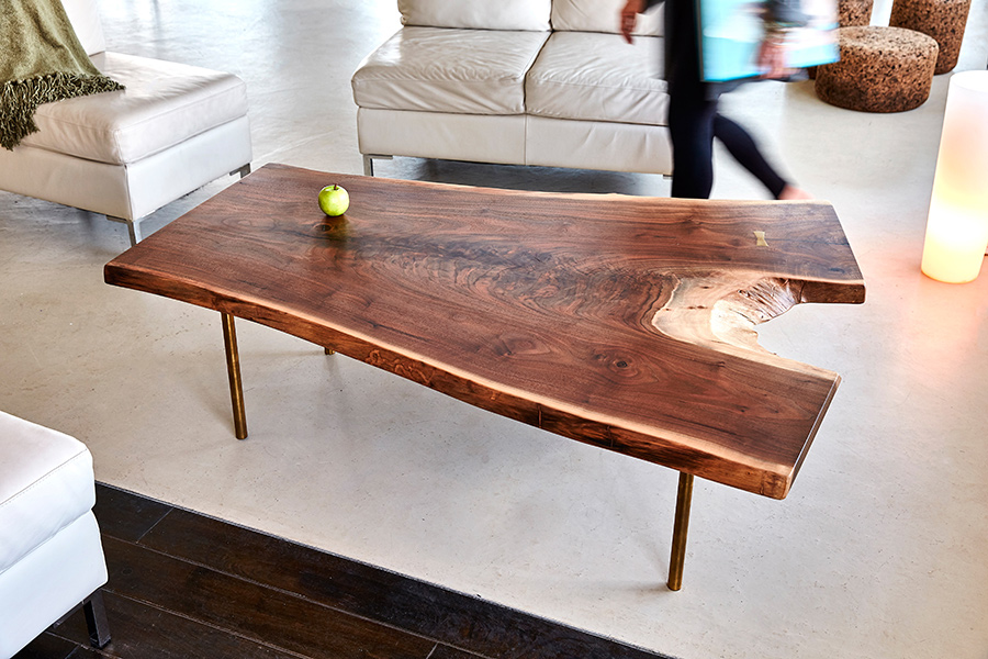 David Stine Furniture walnut custom coffee table