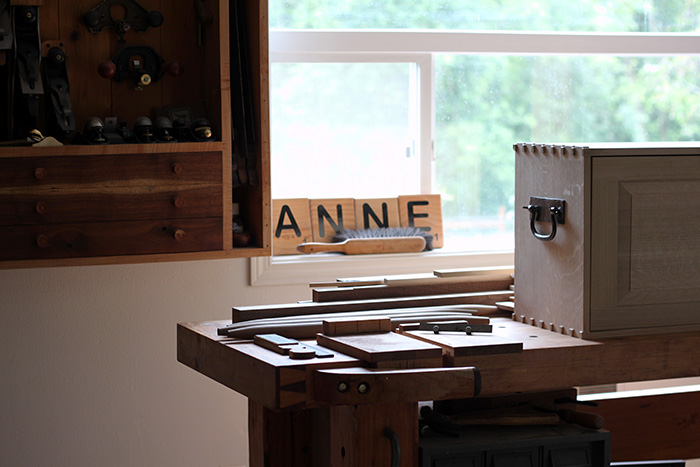 Anne of All Trades woodworking shop space bench