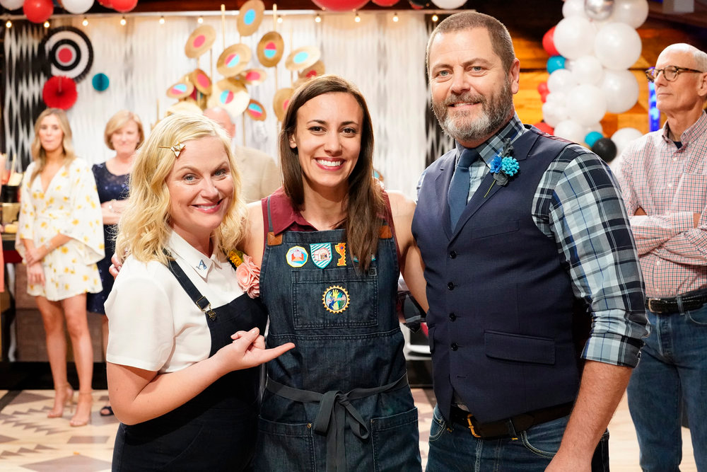 Justine Silva winner master maker of NBC's Making It pictured with Offerman and Poehler hosts