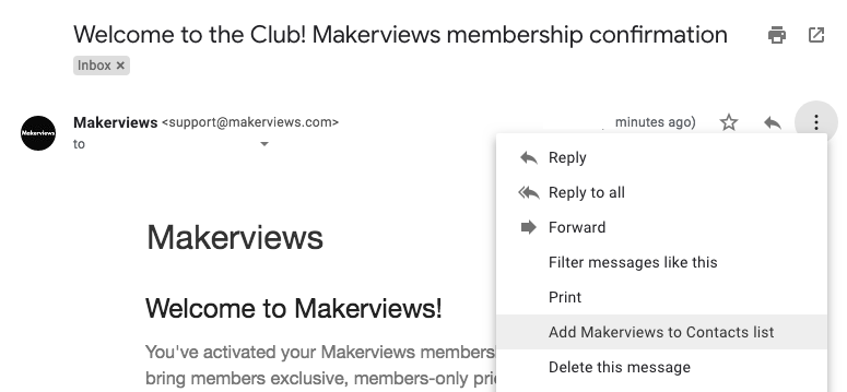 Adding Makerviews to email Contacts example