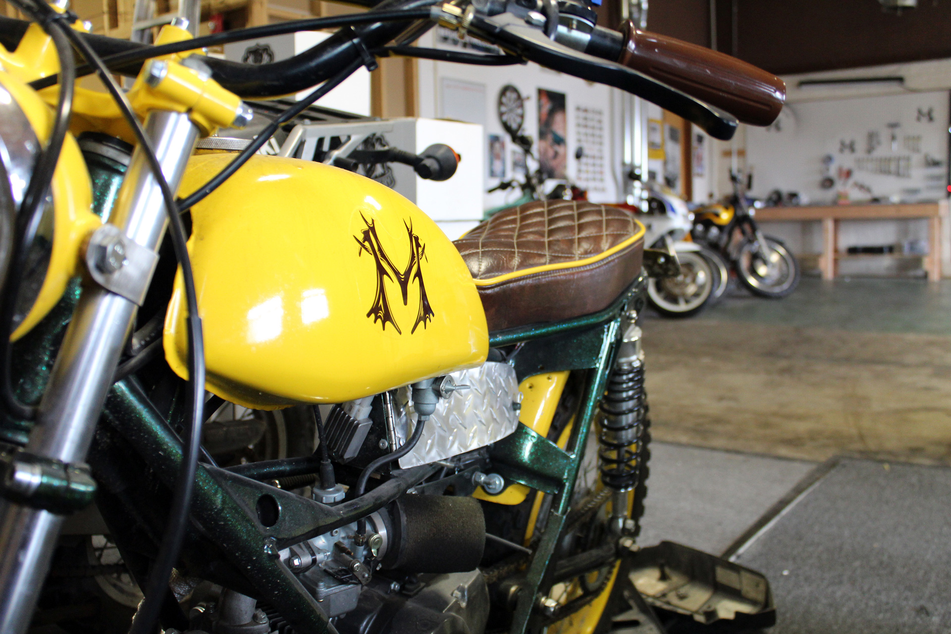 Montgomery Distillery custom yellow motorcycle